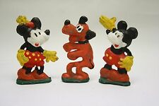 Rare! Vintage! 1930's Mickey Mouse Minnie & Pluto Lead Figurines