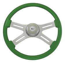 "18"" Green 4 Spoke Classic Steering Wheel 3-Hole for Freightliner, Peterbilt, KW+"