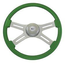 "18"" Green 4 Spoke Classic Steering Wheel 3-Hole for Freightliner, Peterbilt, KW+"