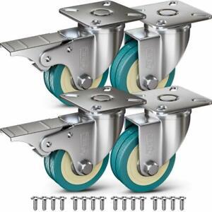 4 Castor Wheels + Screws 50mm 200KG Rubber Trolley Furniture Caster Garage Table