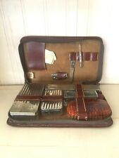 Vintage Men's Travel Toiletry Kit Leather case Metal and Plastic cases Made Usa