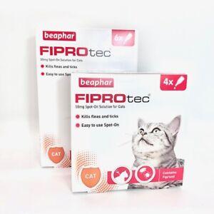 Beaphar FIPROtec Spot On CAT Flea & Tick Treatment | 50mg Solution | 4/6 Pipette