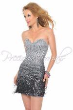 MATTE SILVER/BLK SEQUIN DRESS Sz6 PRECIOUS FORMALS PROM PAGEANT #L20940 NWT $300