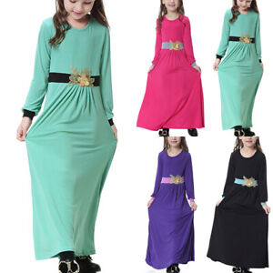 Kid Girl Muslim Maxi Dresses Long Sleeve Kaftan Robe Holiday Abaya Islamic Dress