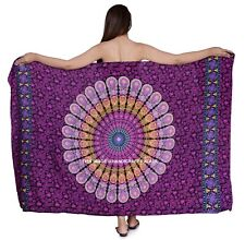 Violet Mandala Print Sarong Pareo Scarf Wrap Full Size Rayon Beach Cover up