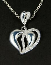 Women's 925 silver plated Crystal heart Necklace Jewellery