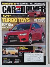 CAR DRIVER AUTOMOTIVE MAGAZINE 2007 NOVEMBER EVO GSR TURBO GALLARDO CORVETTE II