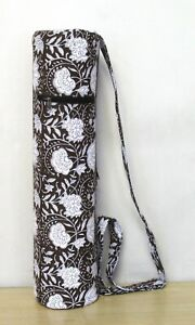 Indian Brown Floral Yoga Mat Carrier Bags Hand Block Bags With Shoulder Strap UK
