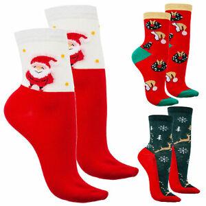 Stock 3 paia calzini donna calzettini Babbo Natale renna feste TOOCOOL W330