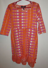 Youth Girl's Large 12 - 14 Jessica Simpson Orange Pink Tie Dye Lace Dress