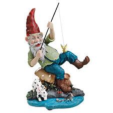 German Fisherman Gnome Statue Woodland Forest Elf Garden Pond Sculpture