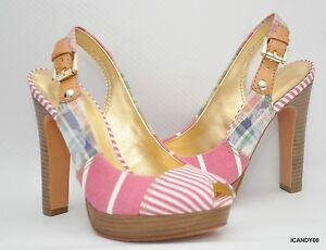 New Coach BERLI Platform Peep Toe Pump Sandal Slingback Heel Shoe ~Madras Pink 8