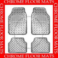 CHROME  SILVER  SIMULATED ALUMINUM FLOOR MATS / 4 PCS  AAA+