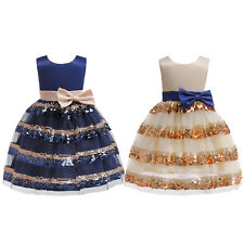 Kids Flower Girls Sleeveless Princess Dress Baby Party Wedding Bridesmaid Gown