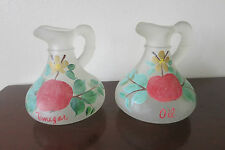 VINTAGE? FROSTED GLASS PAINTED OIL & VINEGAR CRUETS