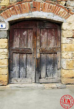 Puerta De Madera Antigua Fondo telón de fondo de pared de ladrillo Vinilo Foto Prop 5X7FT 150x220CM