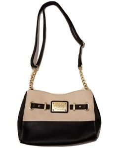 Nicole Miller Shoulder Handbag Purse Gold Chain Strap Black