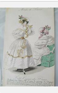 Petit Courier Des Dames antique fashion plate print 1832 hand coloured