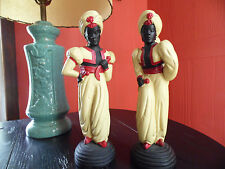 Rare Pair of Chalkware Arabian Genie Dancers, Statues, Art Deco, Blackamoor
