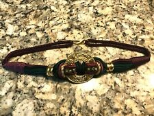 Green/Burgundy Rope Style Belt with Ornate Gold Tone Medallions & Beads M/L