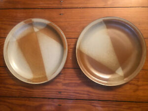 """*SET Of TWO* IRON MOUNTAIN Stoneware White Top Dinner Plate 11"""" Great Condition"""