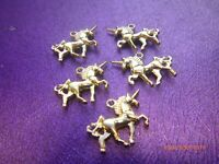 5 Miniature Magical Fantasy UNICORNS Pretty Gold Double Sided Charms 20 x 15 mm