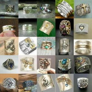 Women 925 Silver Rings Turkish Handmade Retro Bee Ring Wedding Jewelry Size 6-10