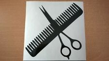 barbers scissors comb shop window door salon hairdressers wall art vinyl sticker
