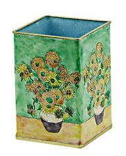 KELVIN CHEN Enamel Copper Handpainted Pencil Pen Cup Holder Sunflower VAN GOGH
