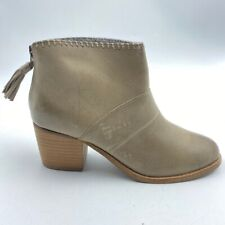 Toms Womens Leila Booties Brown Block Heel Slip On Leather Ankle Boots 6 New