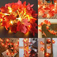 Fall Maple Leaves Fairy String Light 10/20/30 LED Autumn Home Lamp Garland Decor