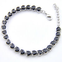 Gorgeous Shiny Wedding Gift Love Heart Black Onyx Gems Silver Charm Bracelets