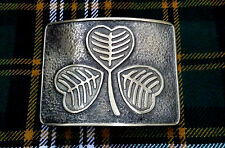 Men's Kilt Belt Buckle Irish Shamrock Large Antique/Highland Kilt Buckle Shamroc