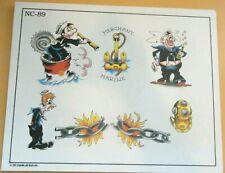 2002 Don Nolan Spaulding & Rogers Color Tattoo Flash Sheet NC-89 Chain Navy USN