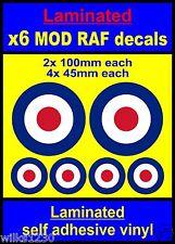 Laminato 6x RAF COCCARDA adesivi che la destinazione Mod Scooter Vespa Auto Decalcomanie