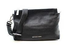 Michael Kors Black Silver Zip Jane Hobo Shoulder Bag Leather Purse $298 #051