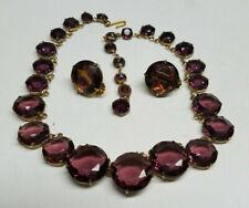 Purple Stone Gold Tone Necklace & Earring Set Costume Fashion Jewelry 13-16''