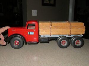 Vintage 1960 SMITH MILLER  LUMBER TRUCK Pressed Steel Model Toy MACK Truck~SUPER