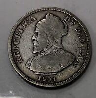 Panama 1904 Silver 50 Centesimos in XF