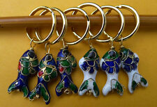 set of 6 Stitch marker for knitting,   Cloisonne beads , fish