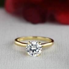 Engagement Ring 14k Yellow Gold Gp 1.50 Ct 7mm Round Solitaire Diamond Wedding