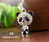 Silver Panda Pendant Necklace