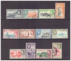 Barbados QEII 1953 Pictorial Definitive set to $1.20 used SG289-300