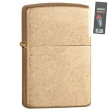 Zippo 28496 armor tumbled brass finish full size Lighter + FLINT PACK