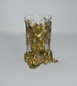 BEAUTIFUL 1920's ANTIQUE Brass ORMOLU CHERUB PUTTI Bubble GLASS Vase SPECTACULAR