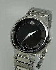 Mens Authentic Swiss Made Movado Concerto Black Dial Stainless Watch 0606541