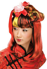 Red Dragon Lady Red and Black Geisha Partial Updo Wig with Flower and Ribbons