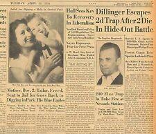 4-1934 April 24 DILLINGER Escapes Trap After 2 Die in Hide-Out Battle FBI B16
