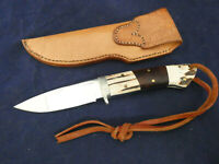 "Custom knife -sheath unused Calif maker Hicks, Antler/wood silver gurard 8 1/2"""