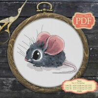 Pretty Little Mouse Nursery art Embroidery Cross stitch PDF Pattern #155